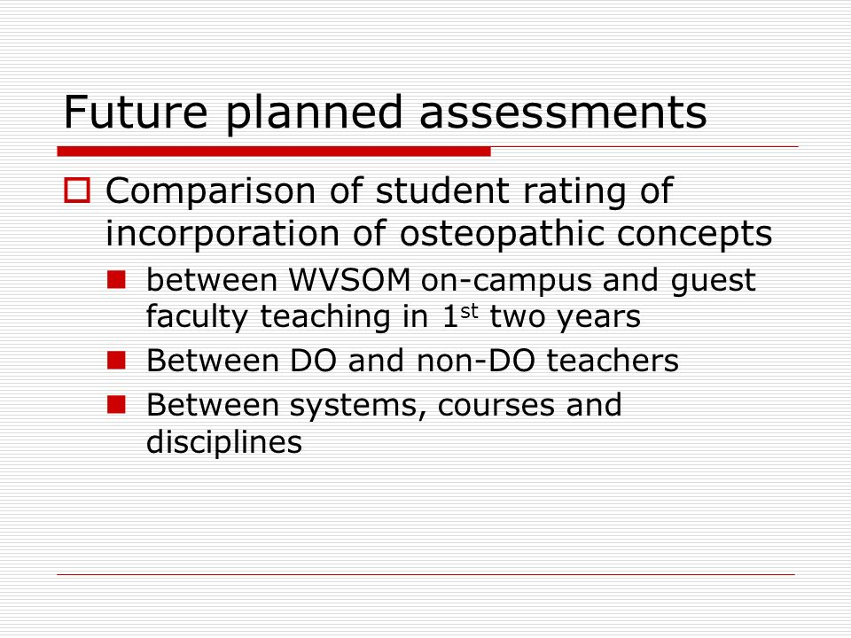Future planned assessments