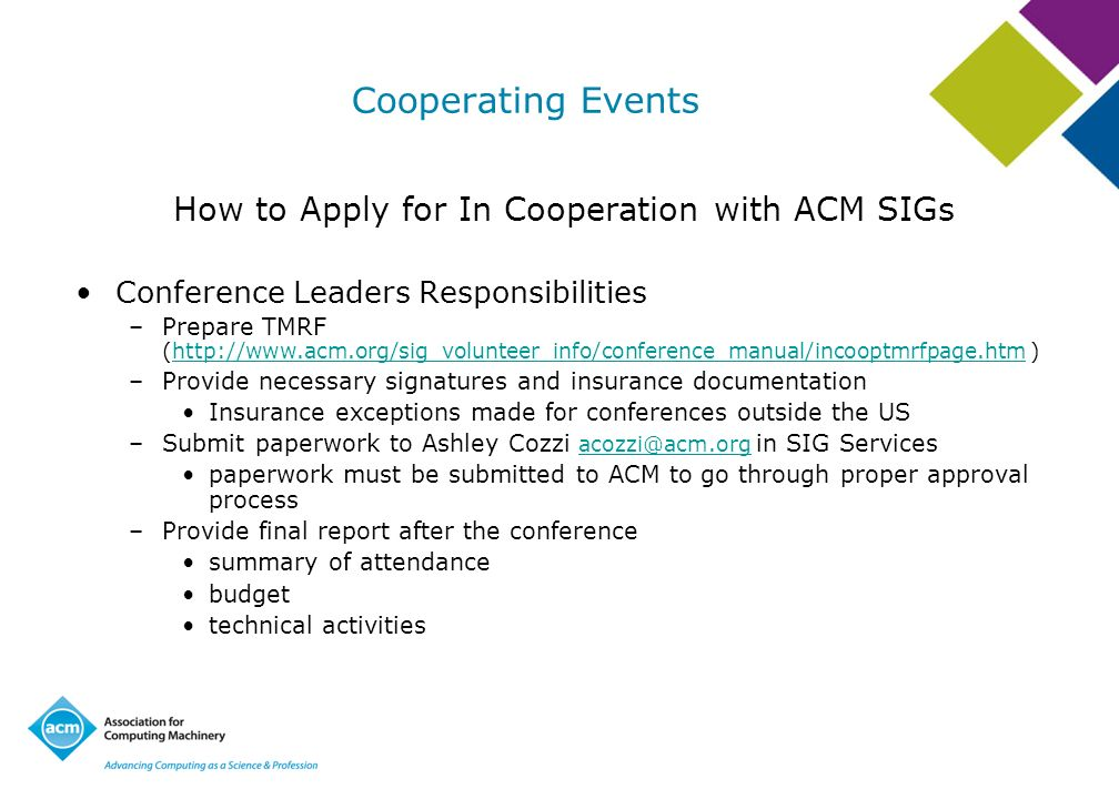 How to Apply for In Cooperation with ACM SIGs