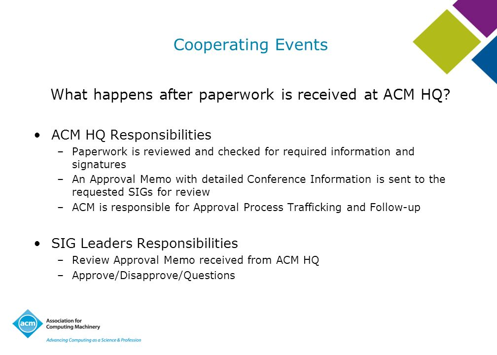What happens after paperwork is received at ACM HQ