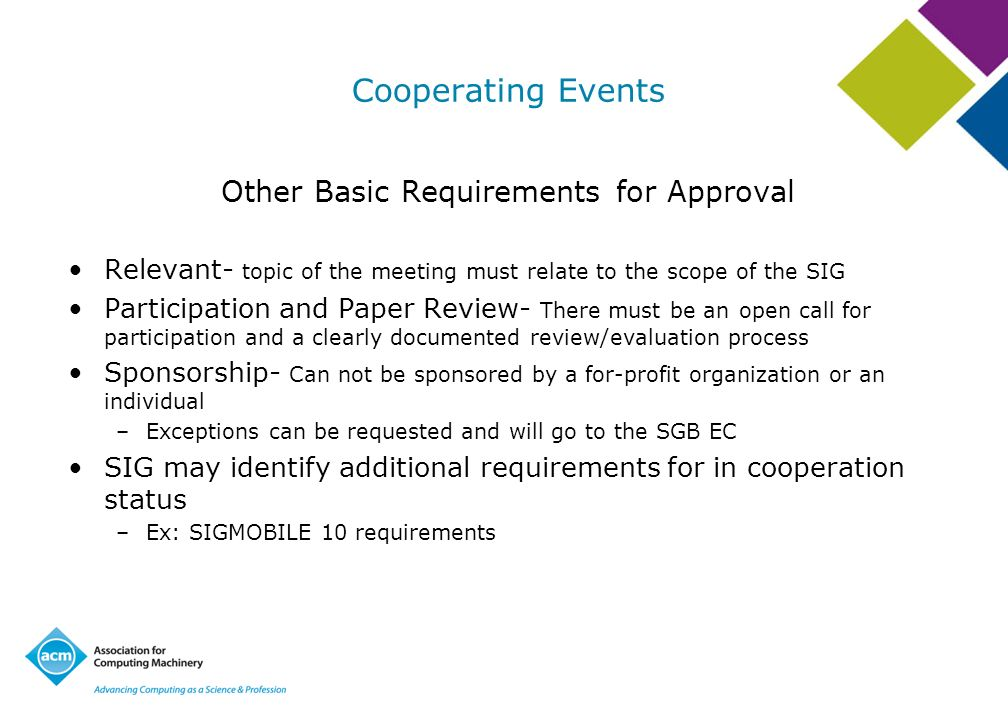 Other Basic Requirements for Approval