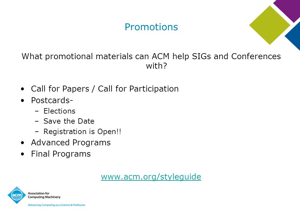 What promotional materials can ACM help SIGs and Conferences with