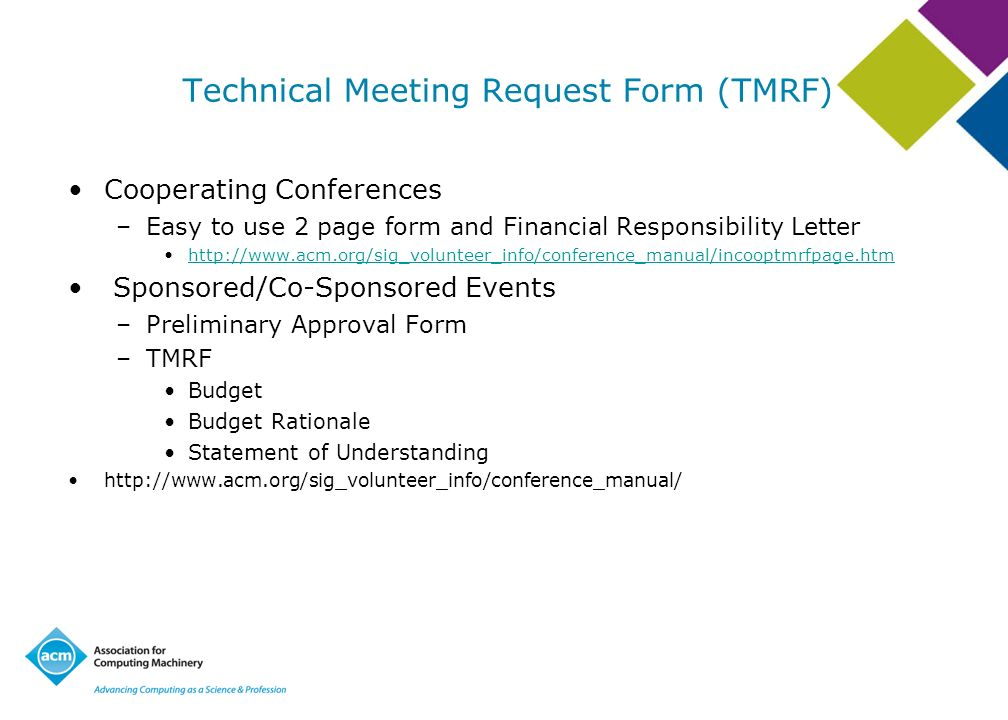 Technical Meeting Request Form (TMRF)