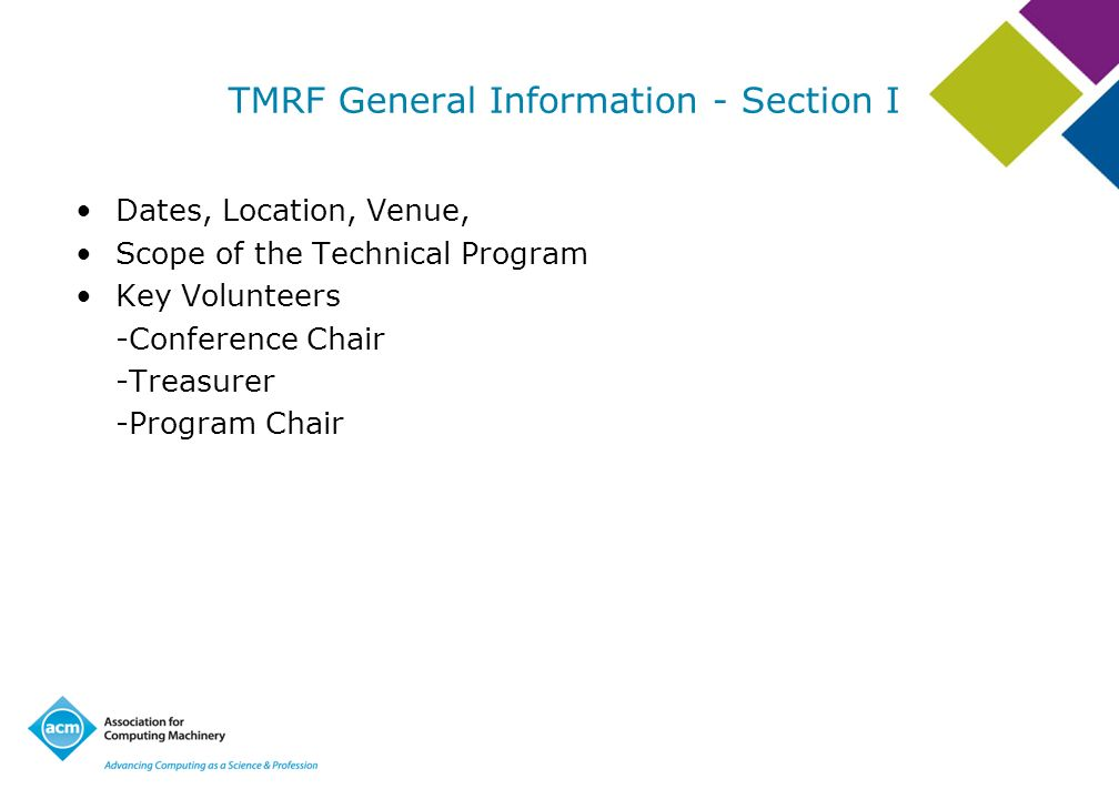 TMRF General Information - Section I