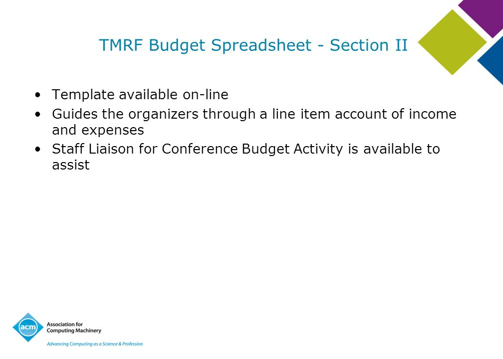 TMRF Budget Spreadsheet - Section II