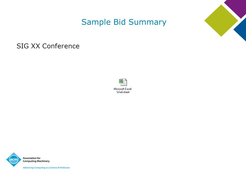 Sample Bid Summary SIG XX Conference Review Sample Bid Summary
