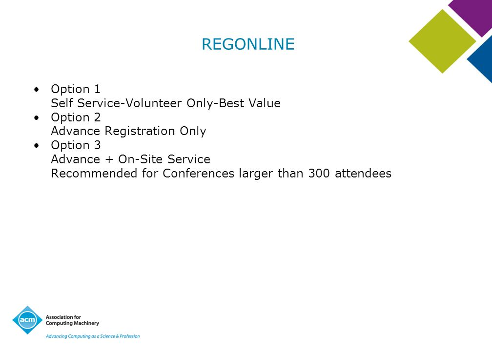 REGONLINE Option 1 Self Service-Volunteer Only-Best Value Option 2