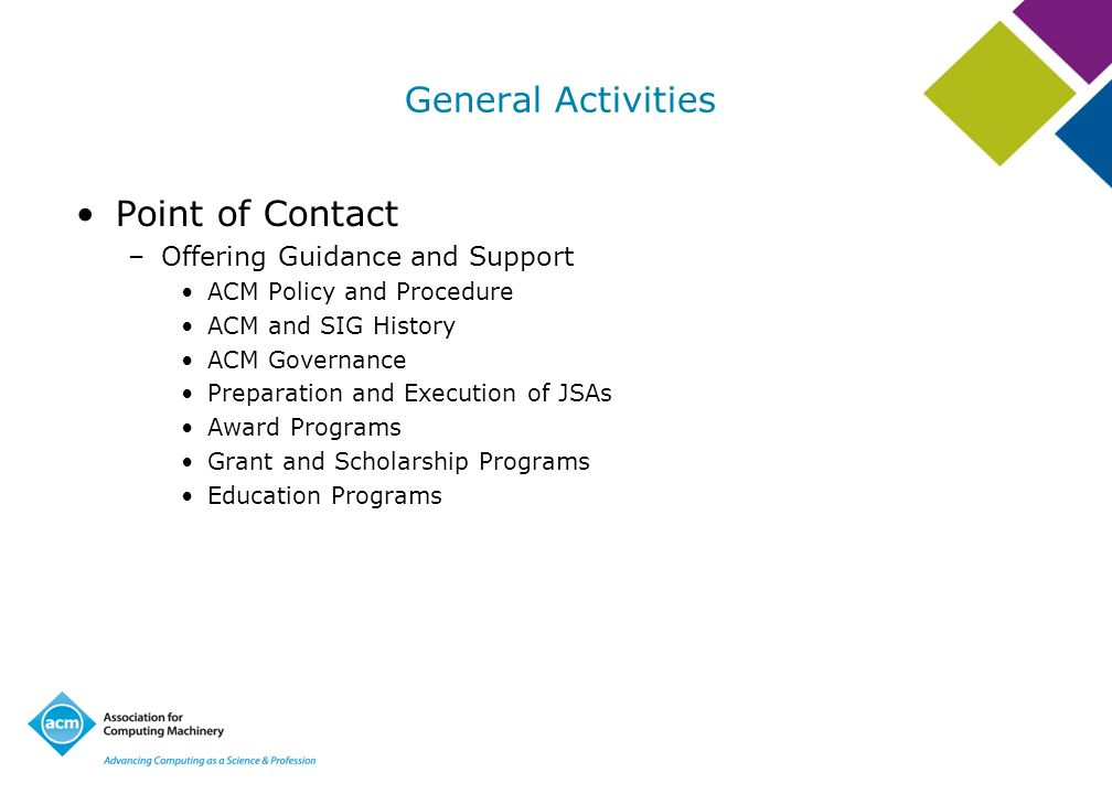 General Activities Point of Contact Offering Guidance and Support