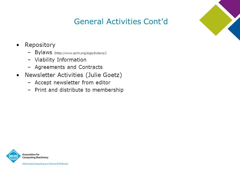 General Activities Cont'd