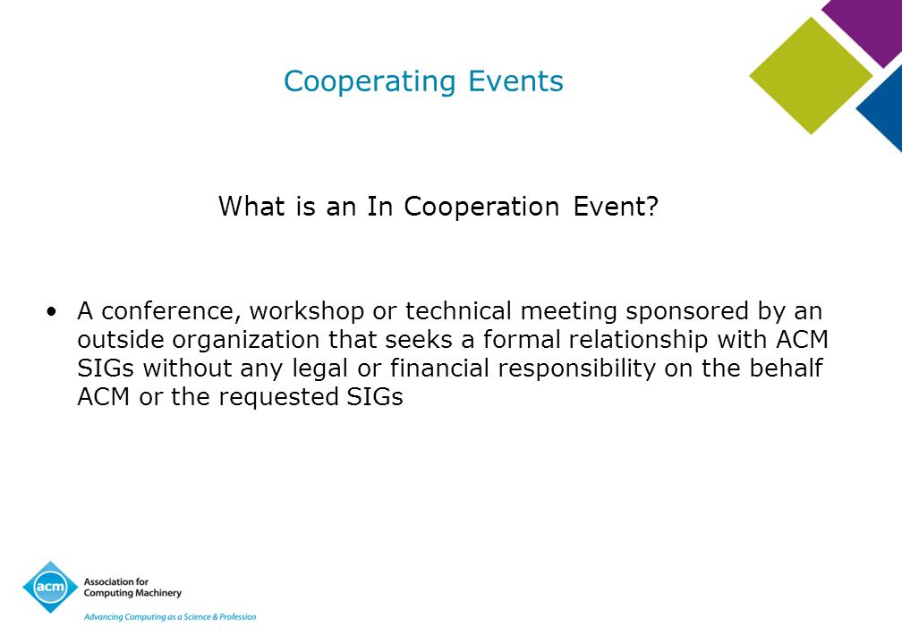 What is an In Cooperation Event
