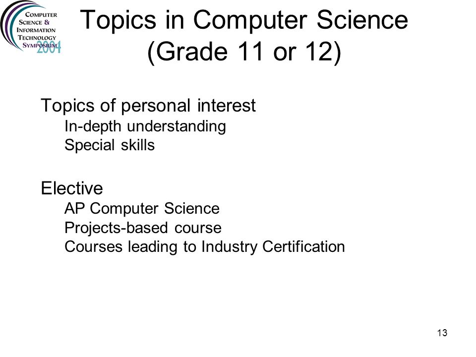 Topics in Computer Science (Grade 11 or 12)