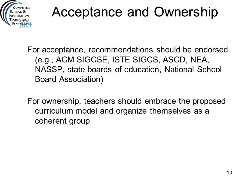 Acceptance and Ownership