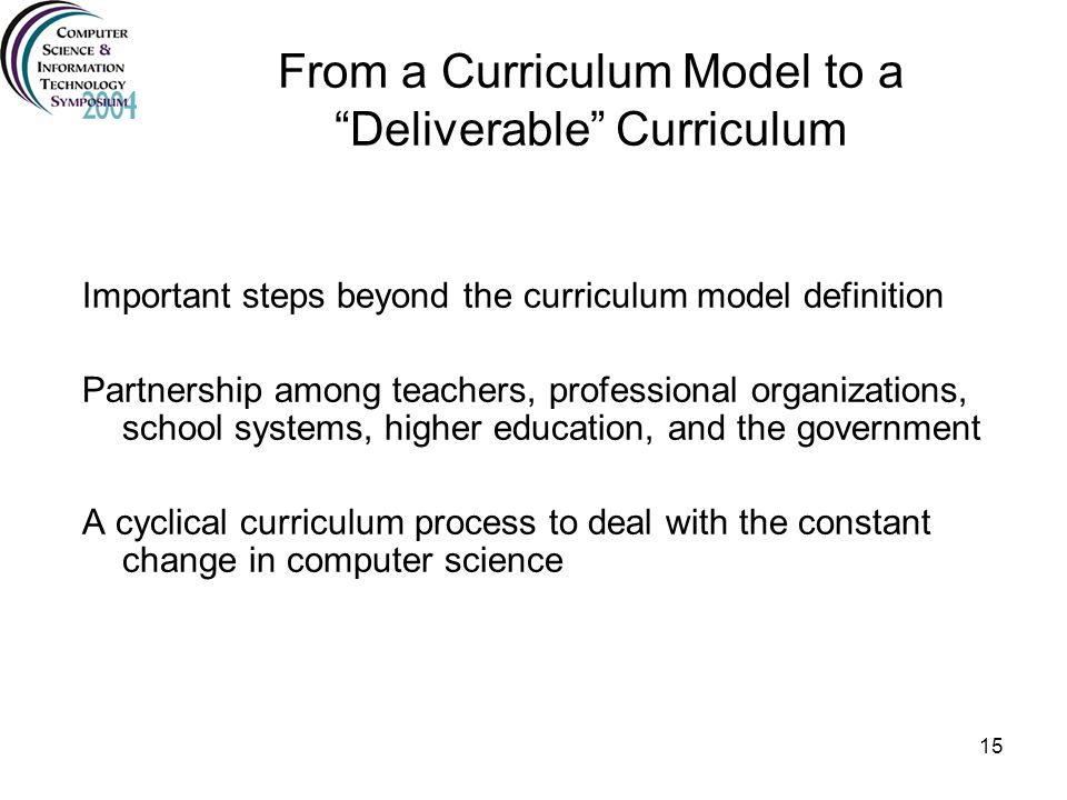 From a Curriculum Model to a Deliverable Curriculum