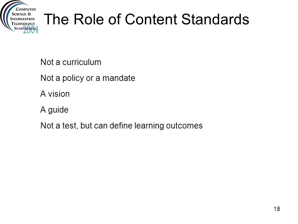 The Role of Content Standards
