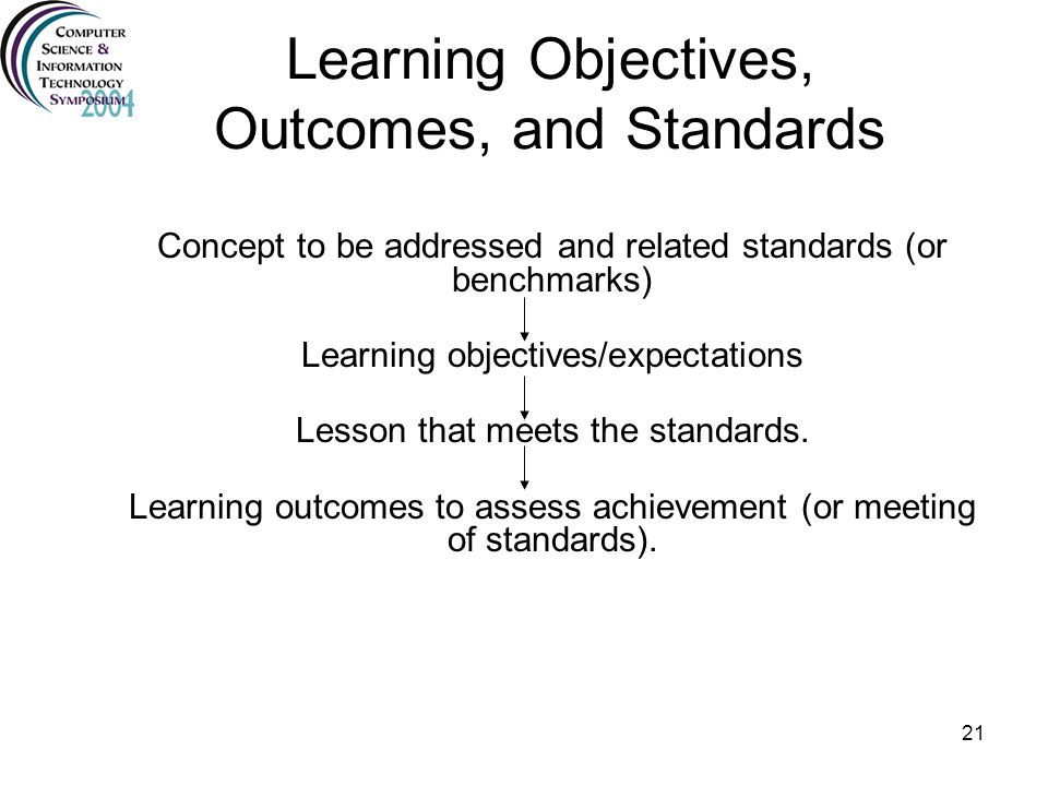 Learning Objectives, Outcomes, and Standards