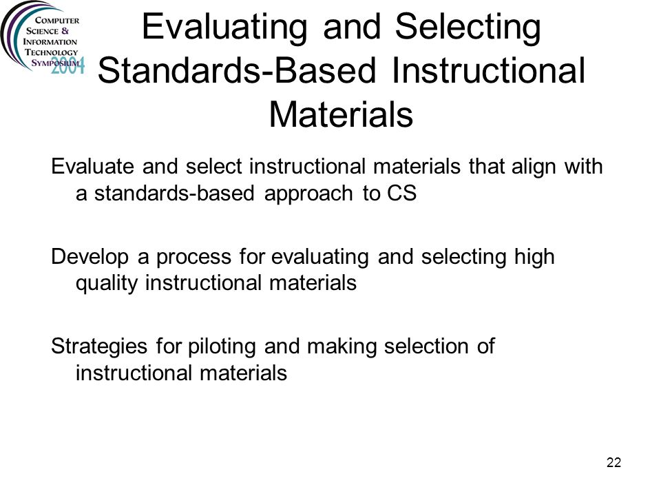 Evaluating and Selecting Standards-Based Instructional Materials