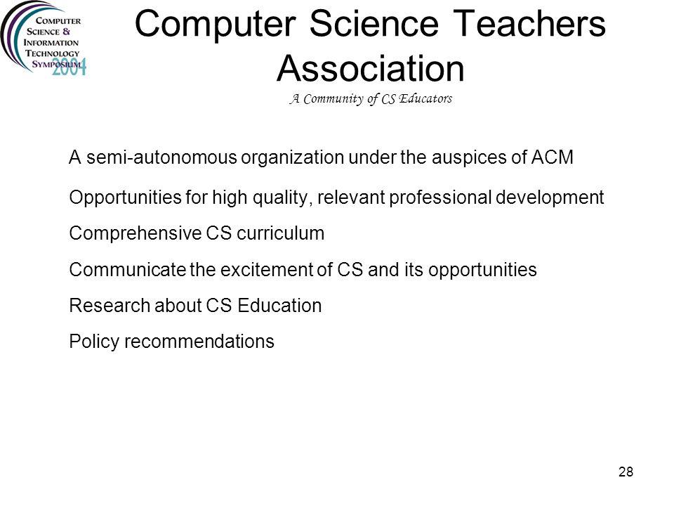 Computer Science Teachers Association A Community of CS Educators