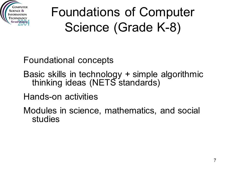Foundations of Computer Science (Grade K-8)