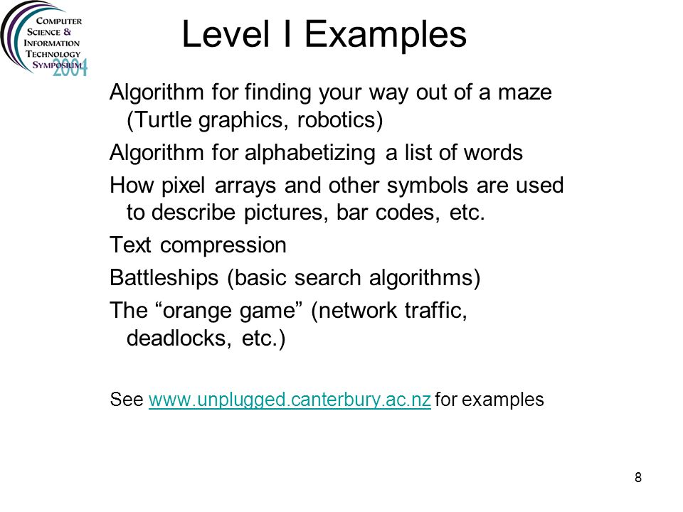 Level I Examples Algorithm for finding your way out of a maze (Turtle graphics, robotics) Algorithm for alphabetizing a list of words.