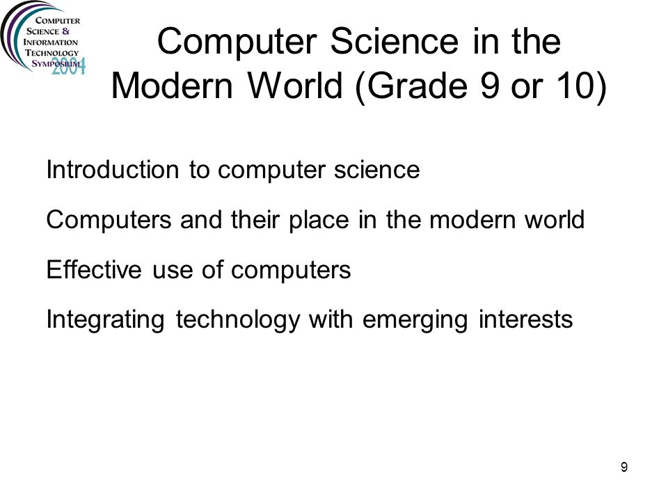 Computer Science in the Modern World (Grade 9 or 10)