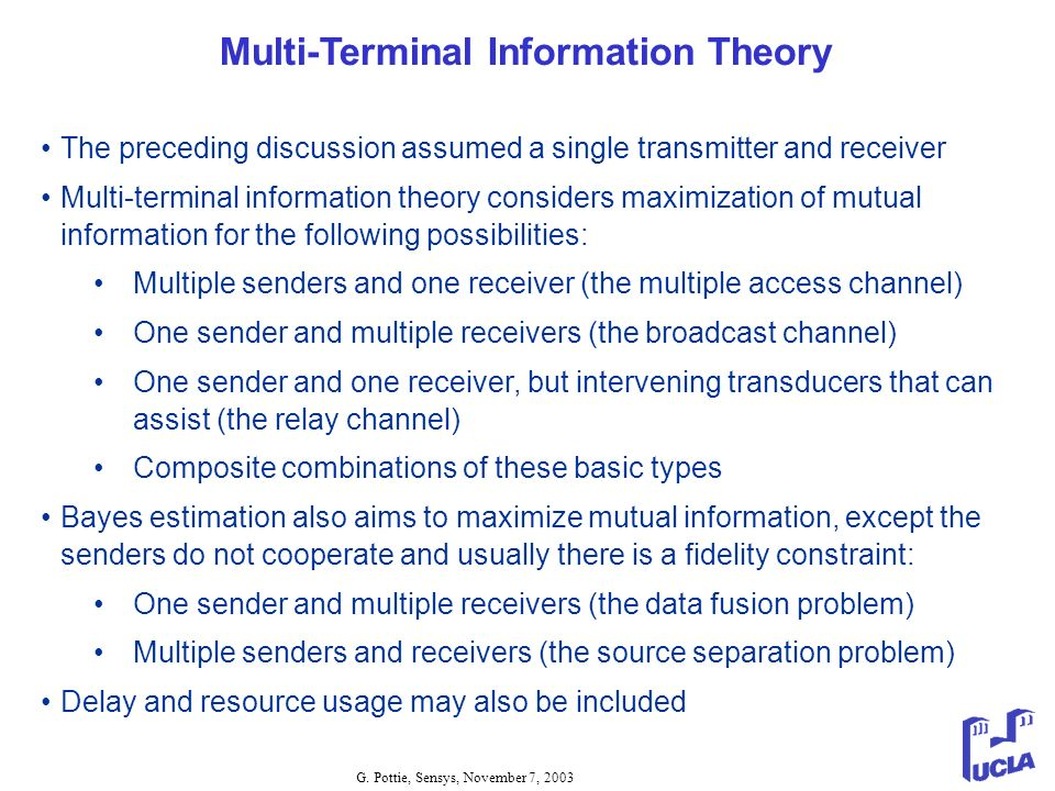 Multi-Terminal Information Theory