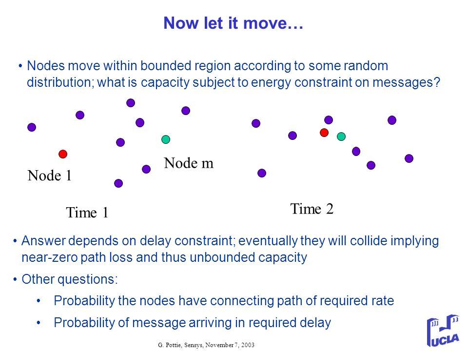 Now let it move… Node m Node 1 Time 2 Time 1