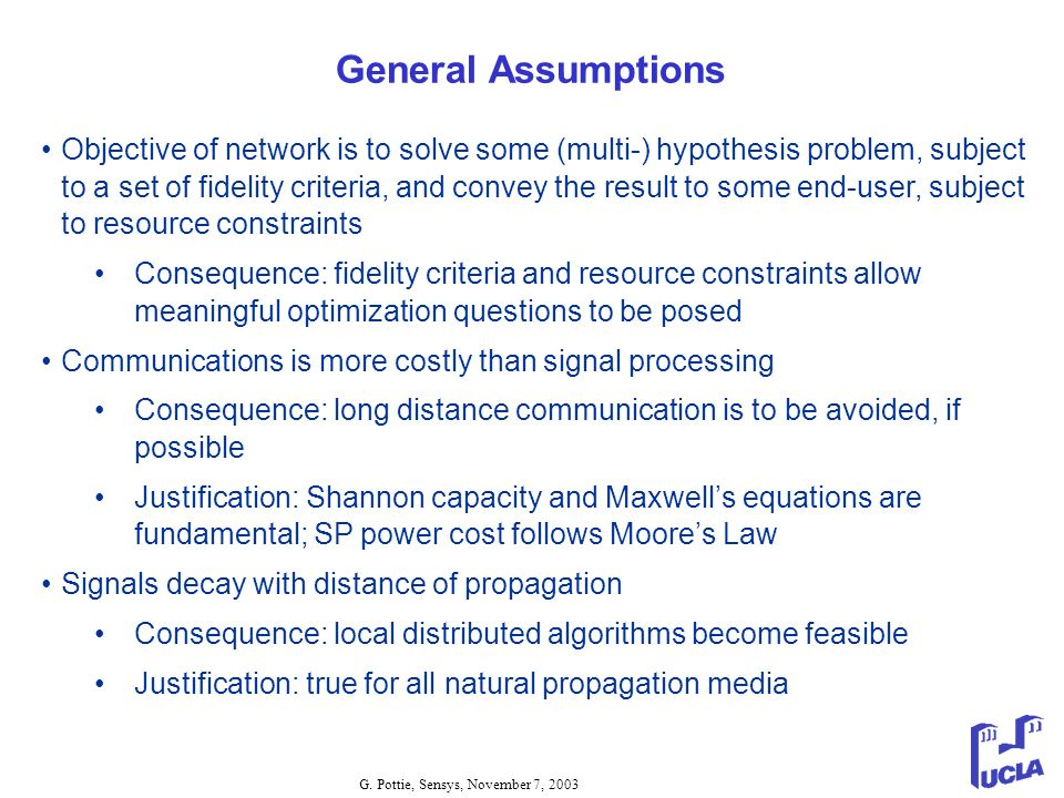 General Assumptions