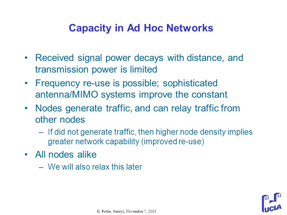Capacity in Ad Hoc Networks