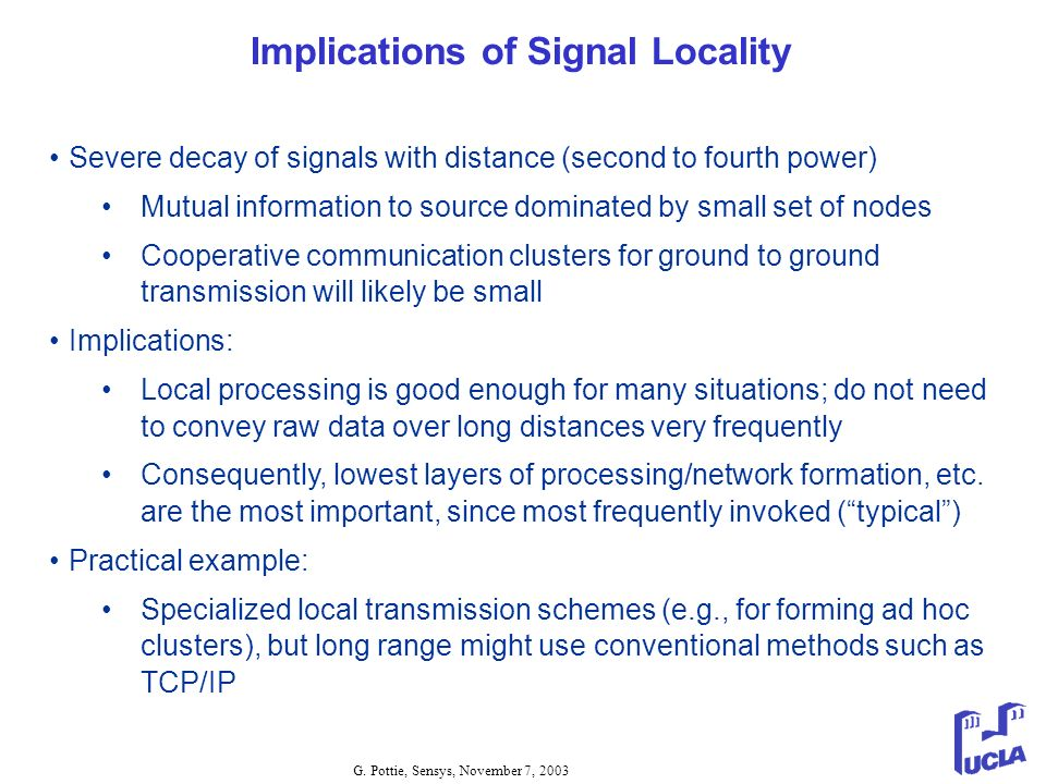 Implications of Signal Locality