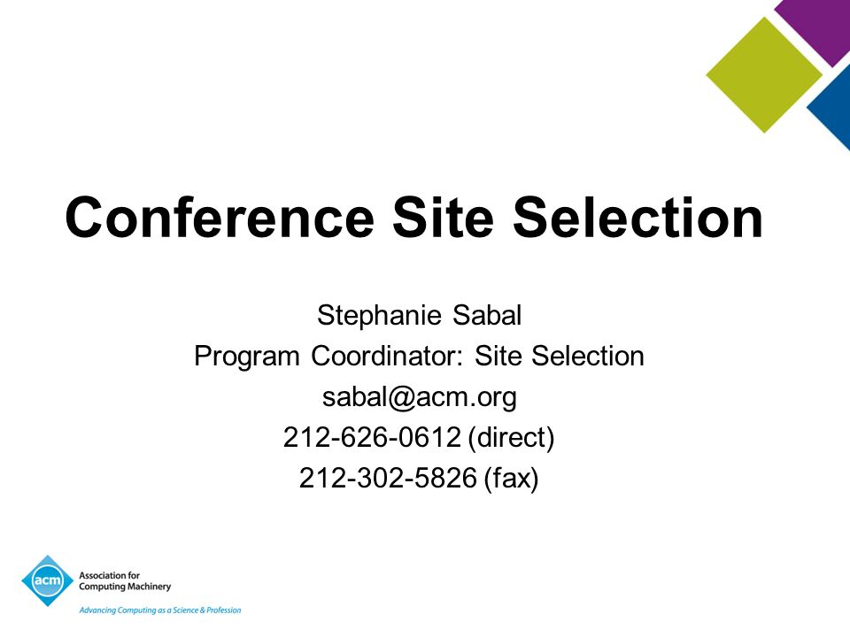 Conference Site Selection