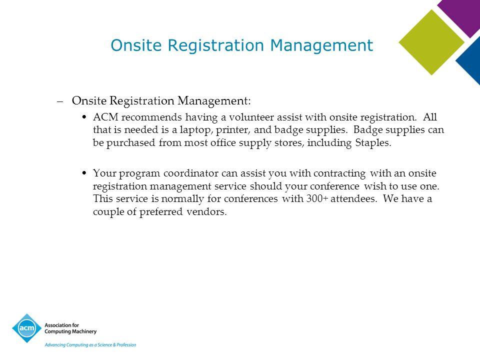 Onsite Registration Management