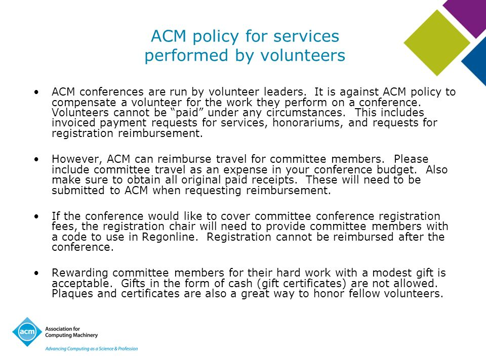 ACM policy for services performed by volunteers