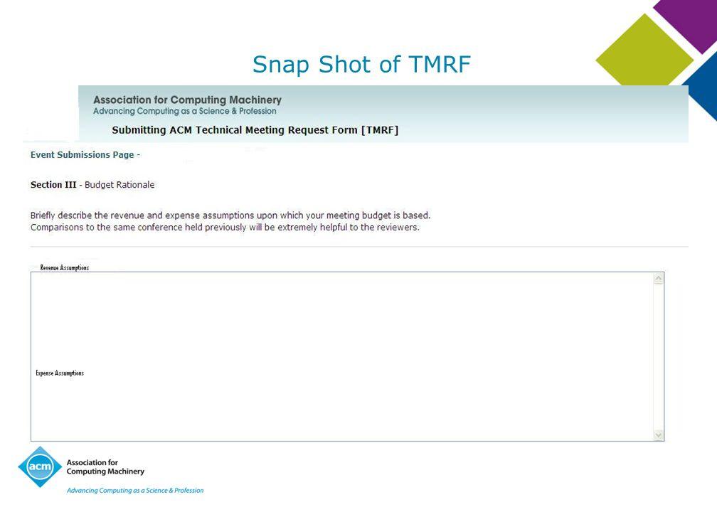 Snap Shot of TMRF