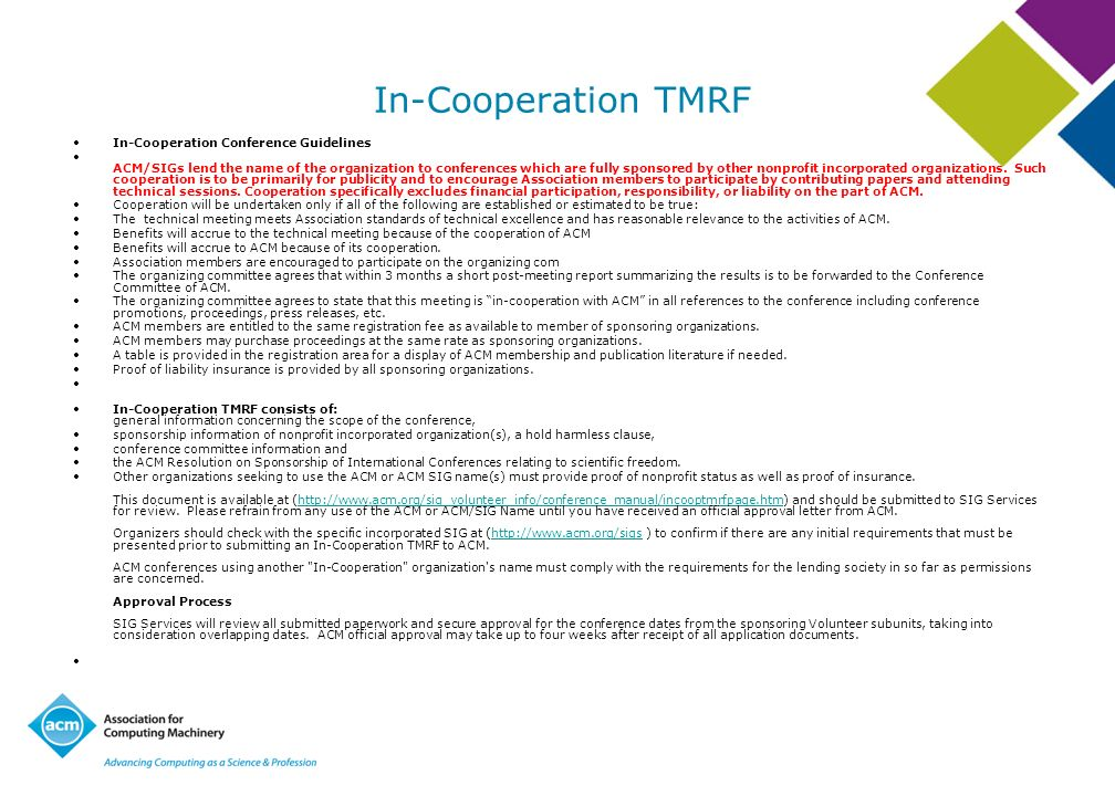 In-Cooperation TMRF In-Cooperation Conference Guidelines