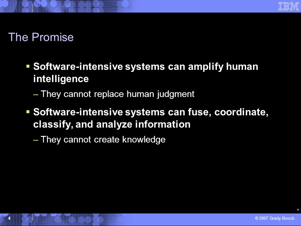 The Promise Software-intensive systems can amplify human intelligence