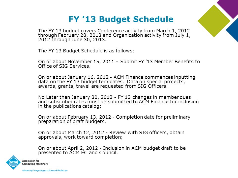 FY '13 Budget Schedule