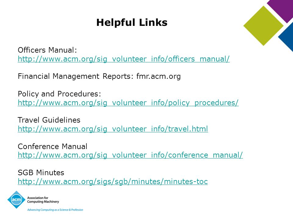 Helpful Links Officers Manual: