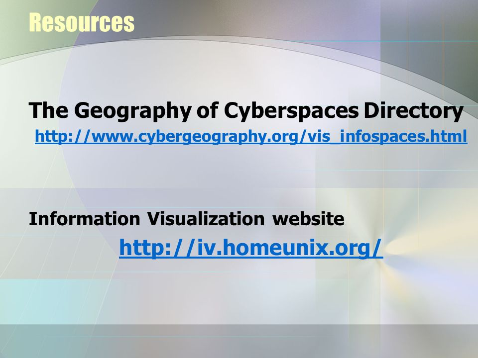 Resources The Geography of Cyberspaces Directory