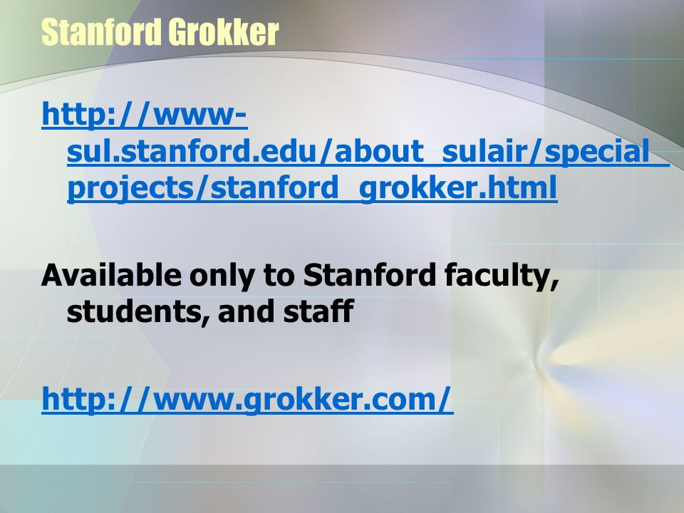 Stanford Grokker http://www-sul.stanford.edu/about_sulair/special_projects/stanford_grokker.html.