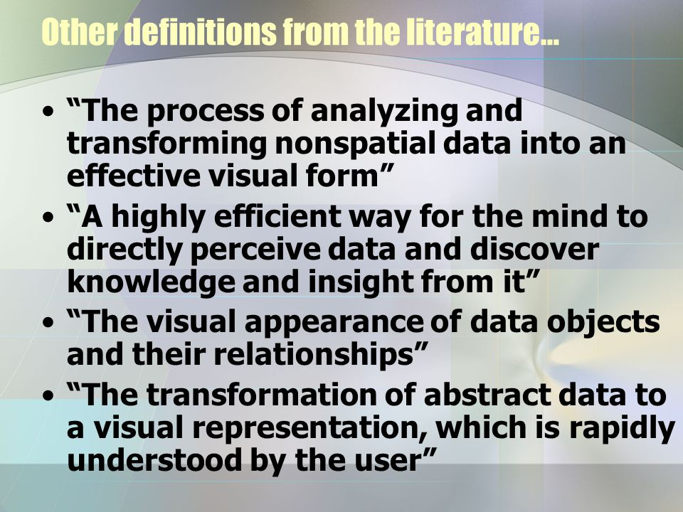 Other definitions from the literature…