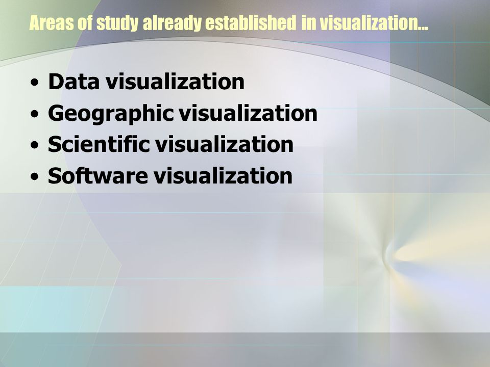 Areas of study already established in visualization…