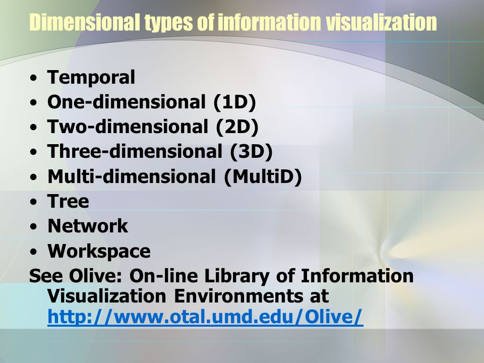 Dimensional types of information visualization