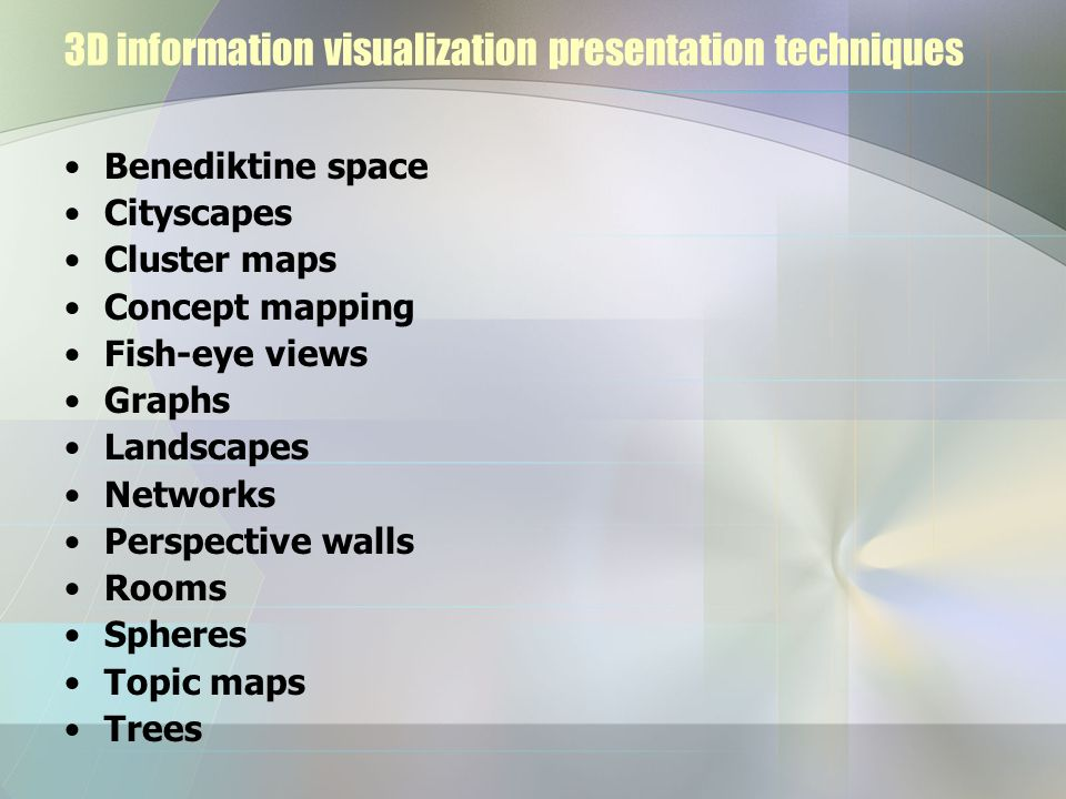 3D information visualization presentation techniques