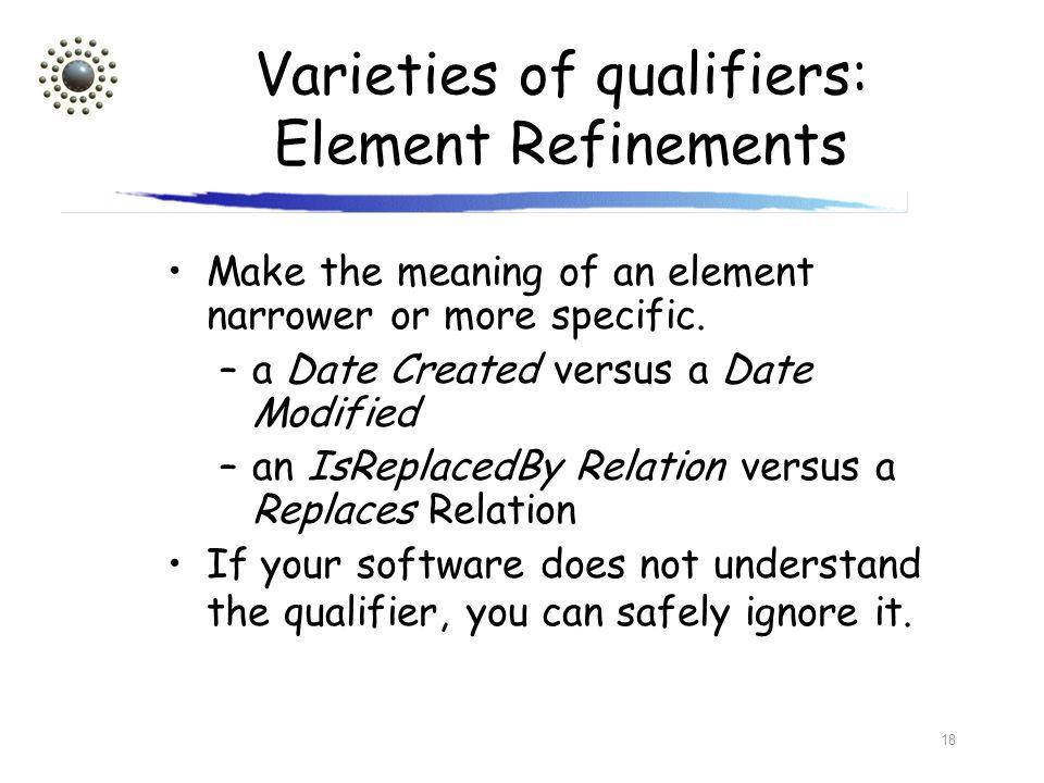 Varieties of qualifiers: Element Refinements