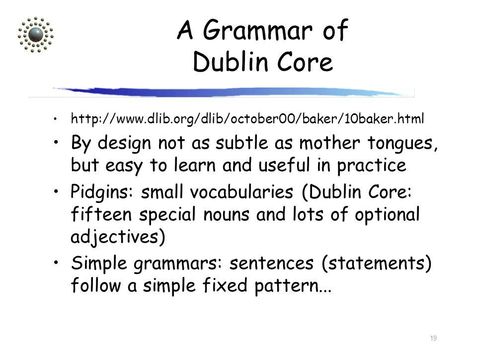 A Grammar of Dublin Core