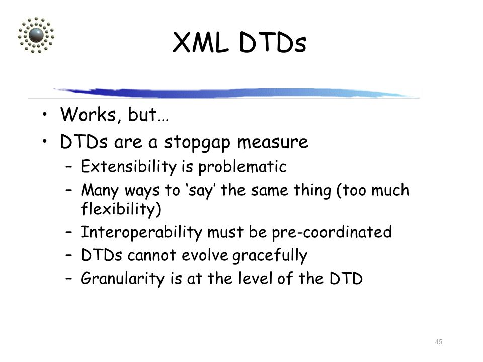XML DTDs Works, but… DTDs are a stopgap measure