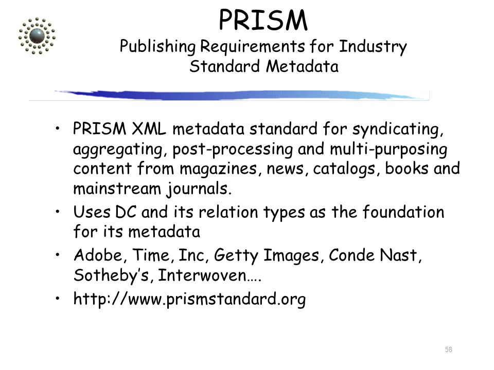 PRISM Publishing Requirements for Industry Standard Metadata