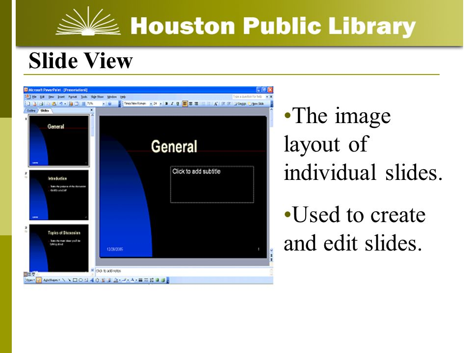 Slide View The image layout of individual slides. Used to create and edit slides.