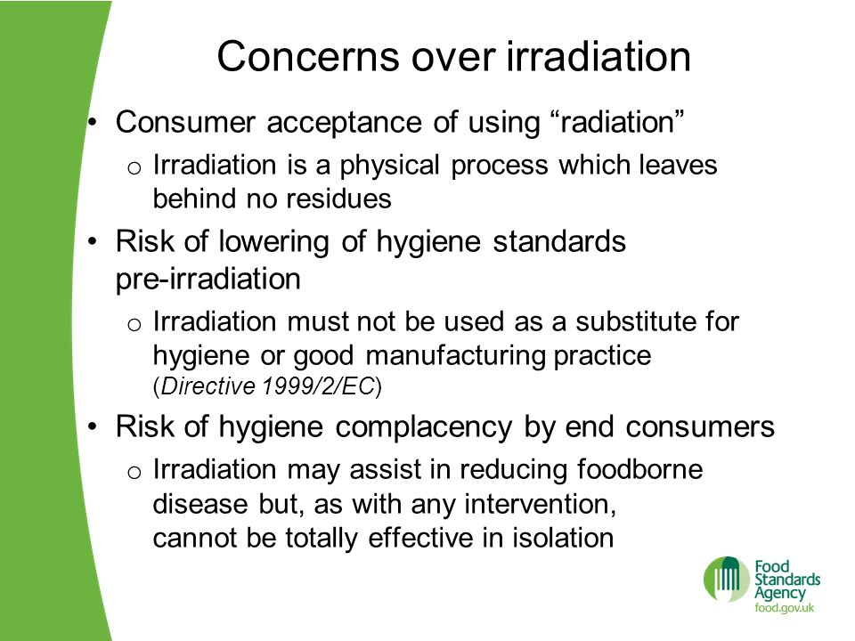 Concerns over irradiation