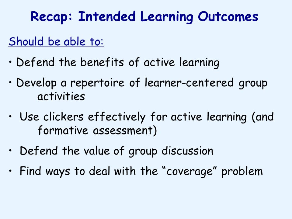 Recap: Intended Learning Outcomes