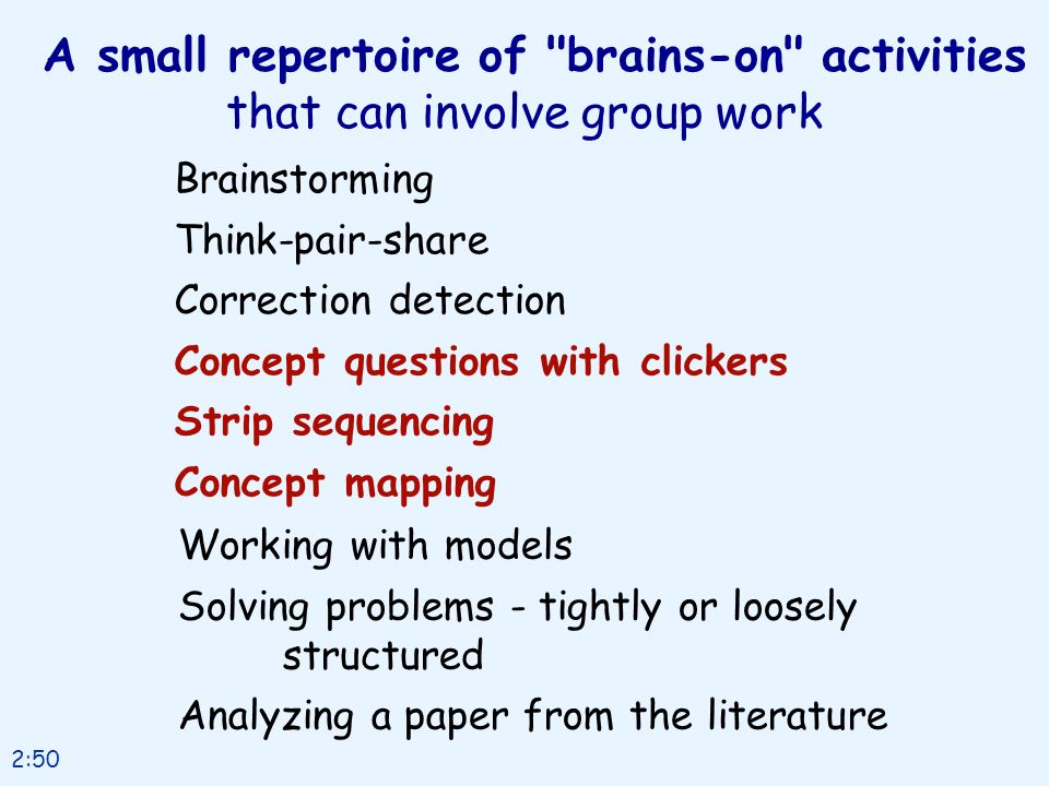 A small repertoire of brains-on activities that can involve group work